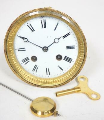 Good Spare Clock Movement French 8 Day Mantel Clock Movement + Key & Pendulum 15