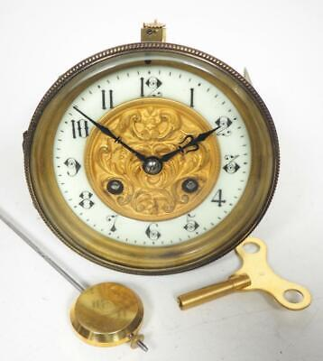 Good Spare Clock Movement French 8 Day Mantel Clock Movement + Key & Pendulum 11