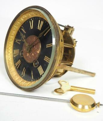Good Spare Clock Movement French 8 Day Mantel Clock Movement + Key & Pendulum 10