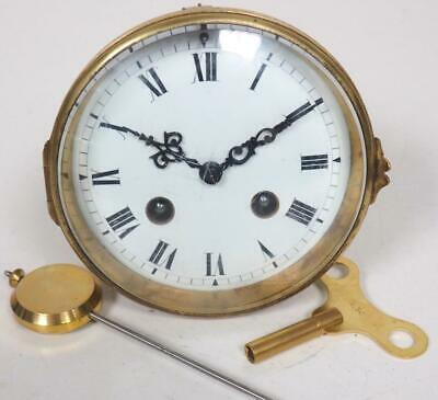 Good Spare Clock Movement French 8 Day Mantel Clock Movement + Key & Pendulum 6