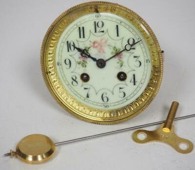 Good Spare Clock Movement French 8 Day Mantel Clock Movement + Key & Pendulum 1