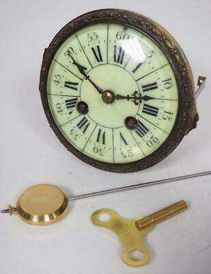 Good Spare Clock Movement French 8 Day Mantel Clock Movement + Key & Pendulum 2
