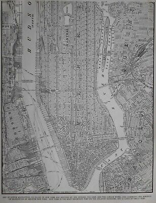 Vintage 1940 Lower Manhattan Atlas Map NY New York City World War WWII Era OLD