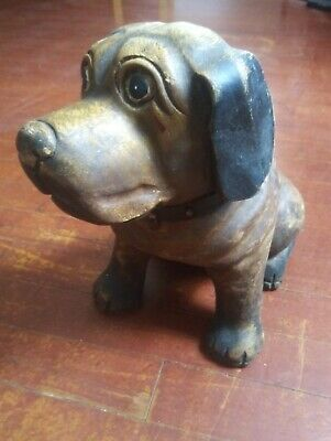 Hand Carved Solid Wood Dog. Leather Collar.. Nice size & detail!!! 12x11x7