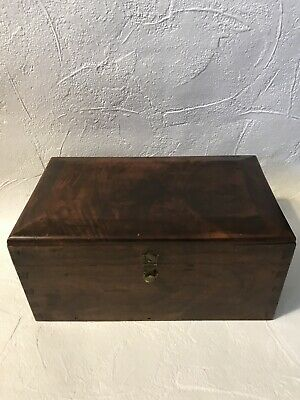 Antique Walnut Document Box Coffered Top w/ Dovetail From DC Estate