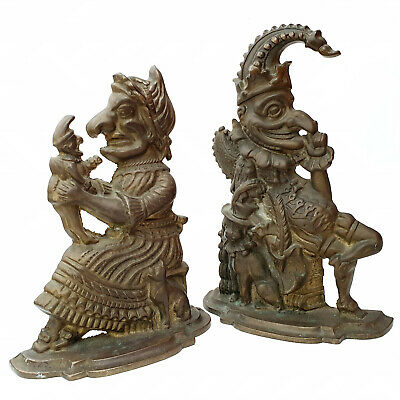 Antique Cast Iron Punch And Judy Door Stops (Rare) Metal Heavy Book Ends Vintage