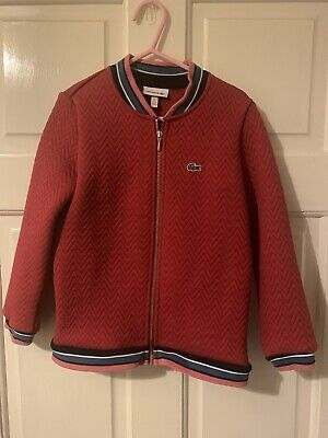 Lacoste Girls Summer Bomber Padded Quilted Jacket Age 6 Red Chevron Crocodile