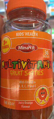 1x 2x Kids Multivitamins orange Soft and Chewy pack of 30 for 3+ years