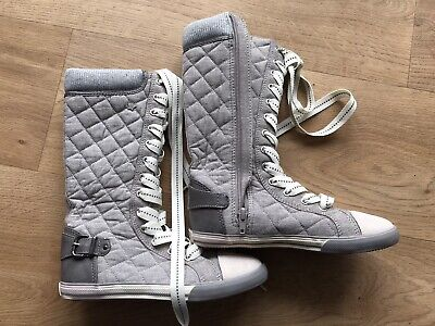 Girls Next Grey Tall Flat Boots Lace Up with Stars Size 2 UK Excellent Condition