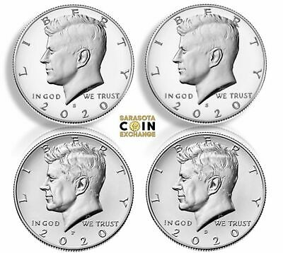 2020 S,S,P,D Kennedy Half Dollars Silver Proof,Proof & P,D 4 Coin Update Set