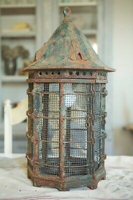 """Early Antique 22"""" Cast Iron Lantern Victorian Castle Cage Light 1800s 1900s Old"""