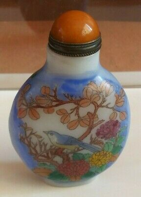 China Peiking glass painting of birds and flowers snuff bottle    鼻