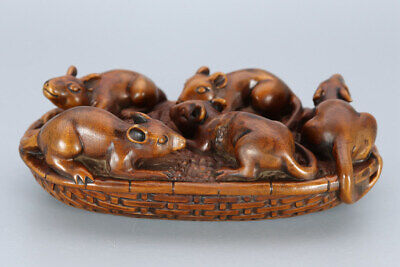 Chinese Exquisite Handmade Five mice Carving Boxwood statue