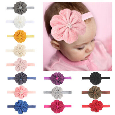 Lovely Baby Girls Elastic Big Flower Hairbands Infant Kids Headband Headwrap Tie