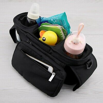 Universal Black Nylon Buggy Stroller Bag Organizer with Thermos Cup Holders