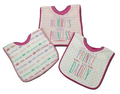Baby Girl Bibs Ideal For Toddlers Mummy Daddy Princess 3 Pack
