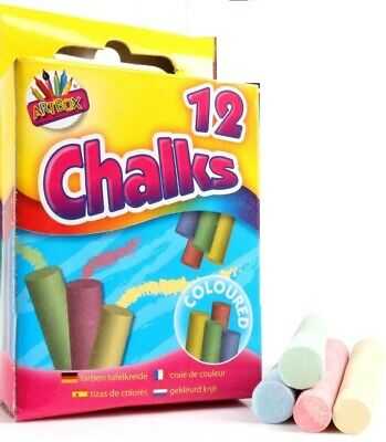 12 Coloured Chalk Sticks Blackboard Playground Pub Art Craft Kids