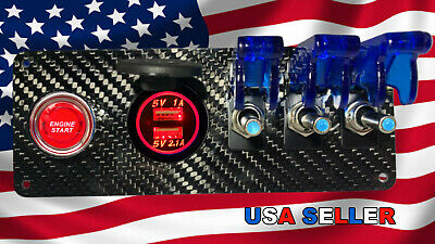 12V Real Carbon Fiber Switch Panel 3 Blue Switches/Push Start/Dual Red USB