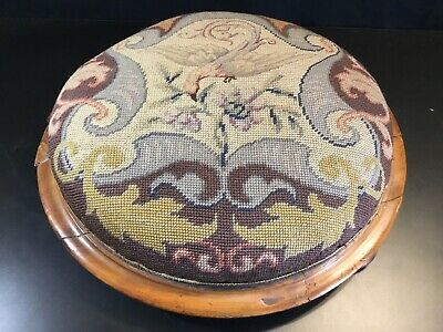 OLD Round Flat Antique Vintage Brown Wool Phoenix Needlepoint Foot Stool Large