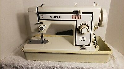 Vintage White Zigzag Sewing Machine with Hard Shell Case And Some Accessories