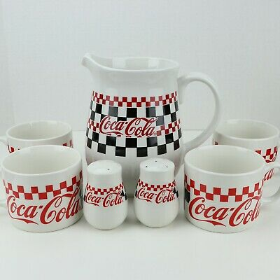 Vintage Coca Cola 1997 Checkerboard Gibson Pitcher, Cups, Salt & Pepper Shakers