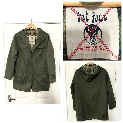 Fat Face Girls Boys 12-13 Years Green Jacket Hooded Thick (C405)