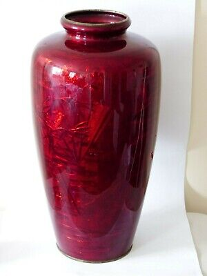 Antique / Vintage 18.5 Inch Large Japanese Ginbari Cloisonné Red Enamel Vase