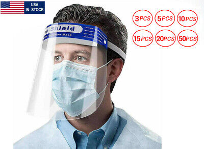 5/10/15/20 Pack Premium Full Face Shield for Safety Clear Standard Size