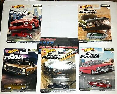 2020 Hot Wheels Fast And Furious Fast Motor City Muscle 5 Car Set In Hand