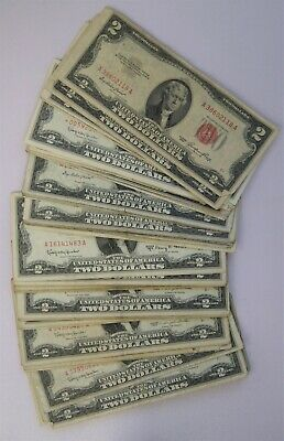 LOT of (10) United States Note $2 Two Dollars Red Seal Note Bills 1953-1963