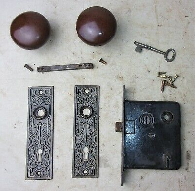 Antique Set EASTLAKE Backplates Brown Porcelain Door Knobs Mortise Lock w/ Key