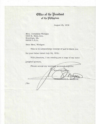Ferdinand Marcos Signed Letter 1972 / Phillipine President Autographed +Envelope