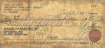 Jamie Lee Curtis Uncommon Vintage 1977 Signed Check