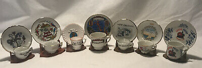 Vintage Collection Of 7 Mini Souvenir Tea Cups And Saucers