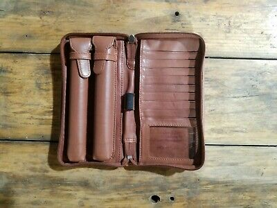Brennan Uptown Classic 302 Brown Leather Double Cigar Holder Case Wallet
