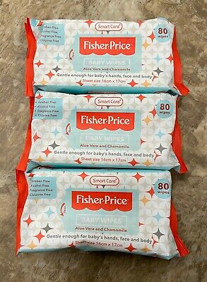3 Pack Fisher-Price Baby Wipes Cleaning 80ct Aloe Vera & Chamomile 240 ct total