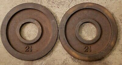 York Olympic Size Barbell Weights Pair 2.5 Lb Plates home gym USA Made vintage