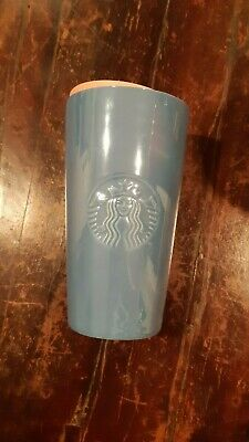 Starbucks Winter Tumbler Travel Ceramic Mug Glossy Coral Lid 12oz