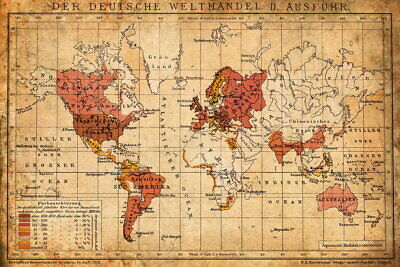 101487 1898 German World Trade Export Antique Style Map LAMINATED POSTER UK