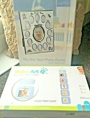 Height Print Chart Photo &  My First Year Silver Photo Frame Baby  NEW