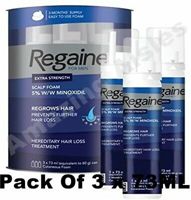 Regaine For Men Foam, 3 Months Supply, 3 x 73ml, for Hair Regrowth