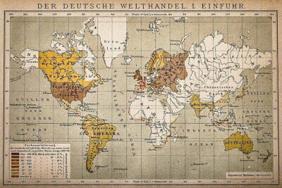 105826 German World Trade Import Antique Style Map Decor LAMINATED POSTER UK