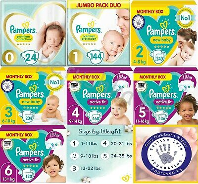 Pampers New Baby Dry Nappies Premium Pack Size 0 1 2 3 4 4+ 5 5+ 6 7 8 Mega Box