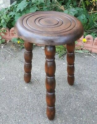 Vintage French Wooden Tripod 3 Legged Stool 52 x 28 cms