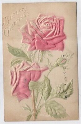 Birthday Greetings Raised Roses 1908 Antique Postcard