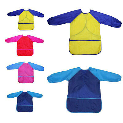 EY_ AU_ Waterproof Children Long Sleeve Paint Feeding Clothes Saliva Burp Apron