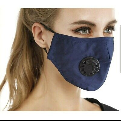 INCLIDES 10 PM2.5 filters!!!Navy Blue Washable COTTON Fashion Face Mask
