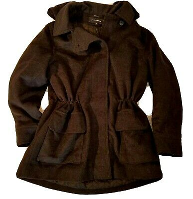 Jones New York Womens Coat 14 Black Wool blend Quilted Trench with Hood Cinch