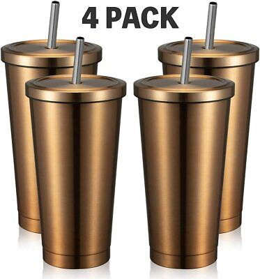 16oz Tumbler with Straw & Lid,4 Pack,Travel Mug Gift Vacuum Insulated Cup