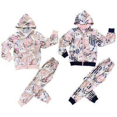 New Kids Girls Chains Printed Tracksuit Hooded Zip Top & Matching Jogg 2pcs set